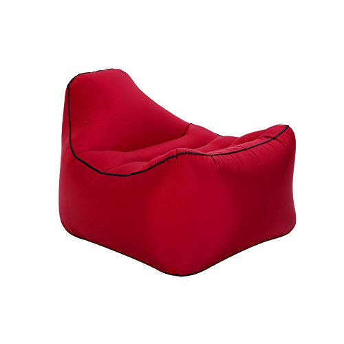 Lazy aufblasbares Sofa Outdoor Strand fauler Schlafsack tragbares Luft Sofa aufblasbares Bett-Rotwein_85 * 68 * 58 cm