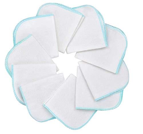 Baby-Waschlappen aus Molton Flanell, Anlising 10 Stück Molton Flanell aus Baumwolle, Farbe: weiß-blau, schadstofffrei, Baby-Tücher, Kosmetik-Tücher, Allzwecktücher