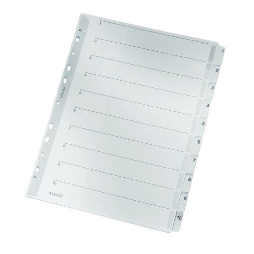 Leitz Register für A4, Deckblatt und 10 Trennblätter, Taben mit Zahlenaufdruck 1-10, Lochrand und bunte Taben folienverstärkt (Mylar), Grau, Karton, 43240000