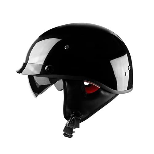 YXHM Casco de moto para hombre y mujer, ligero, estilo retro, talla L, color negro brillante