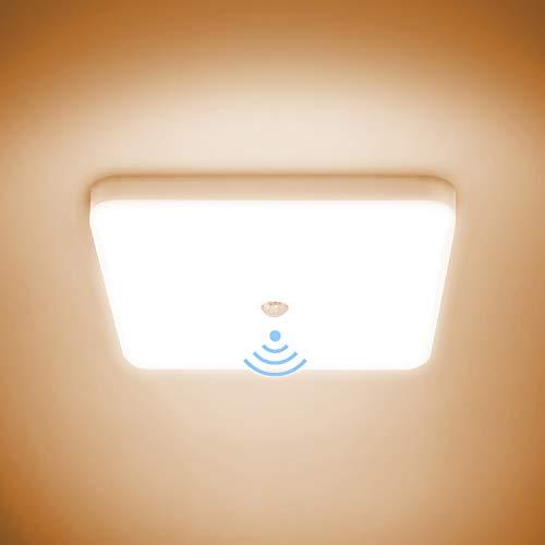 Combuh LED Plafón con Sensor Movimiento 30W Impermeable IP56 Blanco Cálido 3000K 2400Lm Cuadrado Lampara de Techo para Cocina, Baño, Oficina, Porche, Garaje 25 * 25 * 4cm