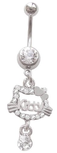 Clear Hello Kitty cz gem dangle says kitty Belly button navel Ring piercing bar body jewelry 14g