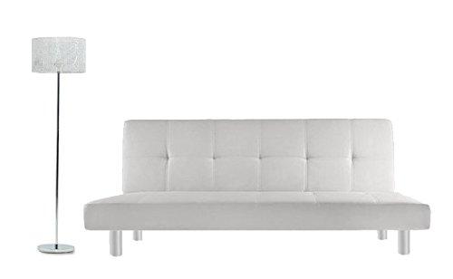 Bagno Italia Divano Letto 3 posti 180x80 Ecopelle Bianco Stile Moderno reclinabile da Soggiorno divani Letti Modello Claudia I