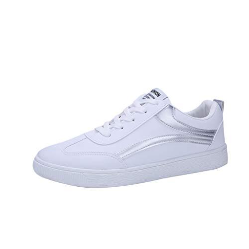 Zapatillas de Running Hombre Vestir Casual Zapatos Blancos Pequeños Aire Libre y Deporte Transpirables Casual Zapatos Gimnasio Correr Sneakers 39-44 riou