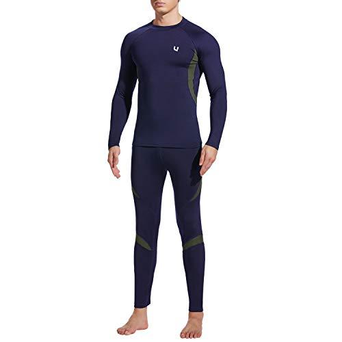 UNIQUEBELLA Thermounterwäsche Set, Funktionswäsche Herren Skiunterwäsche Winter Suit Ski Thermo-Unterwäsche Thermowäsche Unterhemd + Unterhose (Dunkelblau(Neu), L)