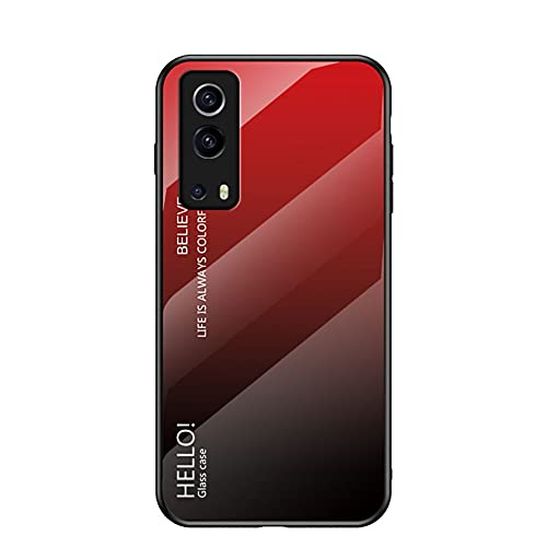 TIANJI Funda para Vivo Y72 5G/Vivo iQOO Z3 Cubierta de Cristal Degradado de Color Caja de Vidrio Templado Case Cover para Vivo Y72 5G/Vivo iQOO Z3 (Rojo)