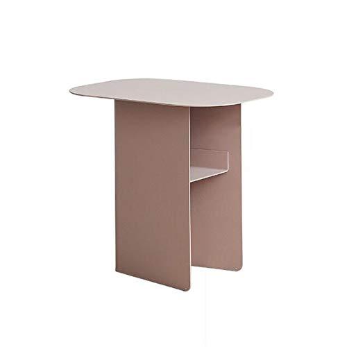 Jcnfa-bijzettafel salontafel, metalen bijzettafel, afgeronde randen, vierkante bijzettafel met opbergruimte, hoogte 17,71 inch