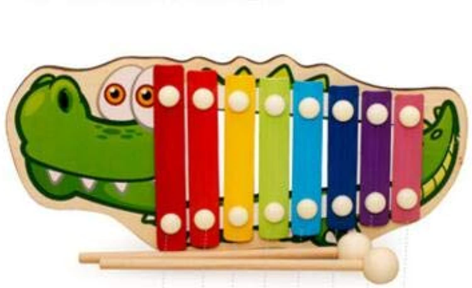 Animal Crocodile Knock On Piano Baby Kids Wooden Toddler Learning Education Musical Toy MT72   bluee