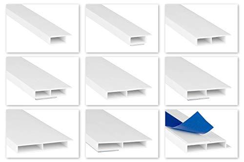 HEXIM Fenster/PVC Deckleisten 7mm - Hohlkammerprofile, wahlweise mit Schaumklebeband (selbstklebend) und Überstand für Wandabschluss (Fahne) - 2 Meter je Leiste (20x7mm, HJ 276)
