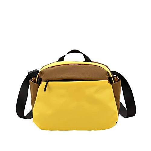 favourall Canvas Men Women Waterproof Bag Shoulder Bag Messenger Bag, Leisure, Gym Bag, Black, Yellow, Gray, Green with Black, White and Grey Bright Color, E