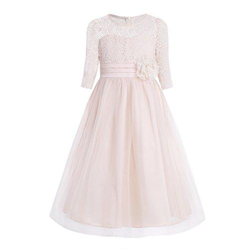 iEFiEL Kinder Mädchen Kleider Festlich 1/2 Arm Blumenspitze Lang Brautjungfern Kleid Prinzessin Hochzeit Party Kleid Gr. 110-176 Champagner 152