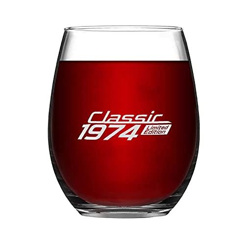 Classic Limited Edition 1974 Copa de vino sin tallo, novedad taza de vino de noche con ideas para el día de la independencia, el día del padre, amiga, mamá, marido, esposa, novia.