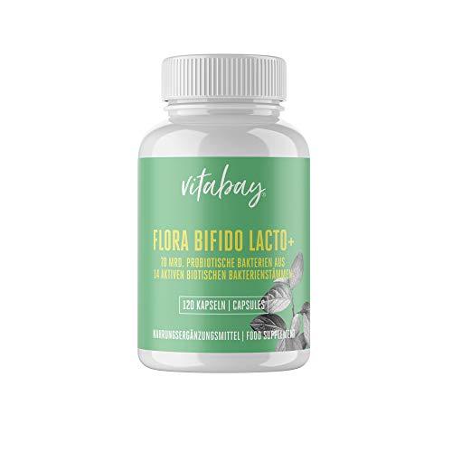 Flora Bifido Lacto + con 14 ceppi batterici biotici - 5 miliardi di colture batteriche attive per capsula (120 capsule vegane)
