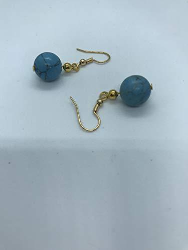 blue jasper 10 mm dangle earrings on gold plated wire by Susan Jane Craker