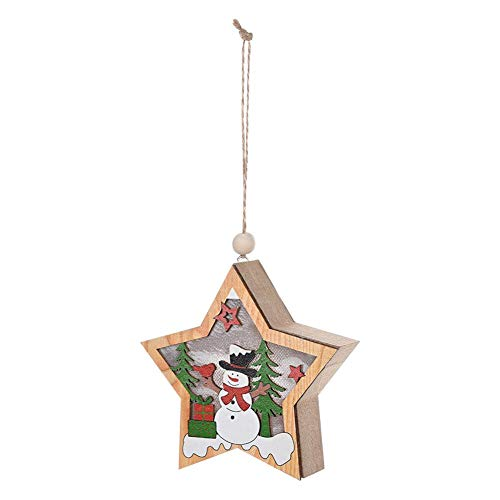Innersetting Christmas Start Lights, Holzstern Anhänger Weihnachtsbaum LED Fairy Light Ornament Craft (Schneemann)