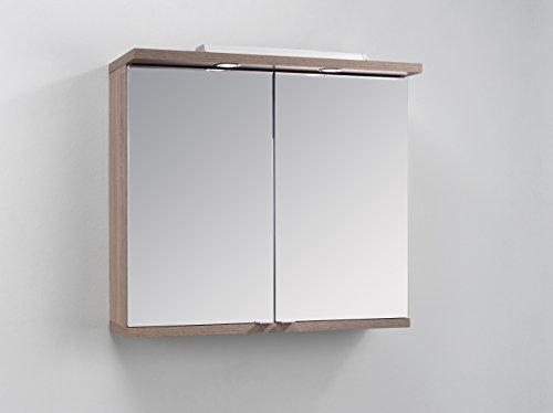 HOMEXPERTS Badezimmer Spiegelschrank NUSA mit LED-Beleuchtung & Türgriffen / Moderner, 2-türiger Spiegel Hängeschrank in Sonoma eiche / 80 x 30 x 73 cm (BxTxH) / Wandschrank mit Spiegeltüren