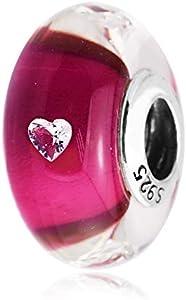 QNWLKJ Ajuste Original Pandora Pulseras DIY Plata De Ley 925 Cerise Corazón Cuentas De Cristal De Murano Pulsera Encantos De Joyería con Cz