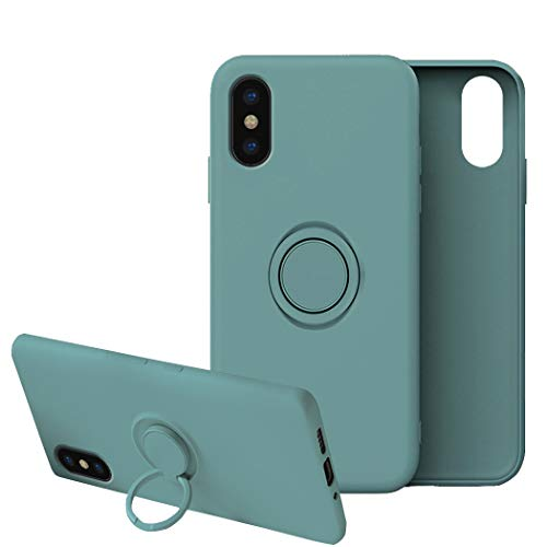 Funda para iPhone X/XS/XS MAX Apple Case,Fundas iPhone X/XS/XS MAX Silicona Antigolpes Carcasa Gel de sílice líquido Compatible con Posterior Magnético Iman (iPhone X, Verde Oscuro)