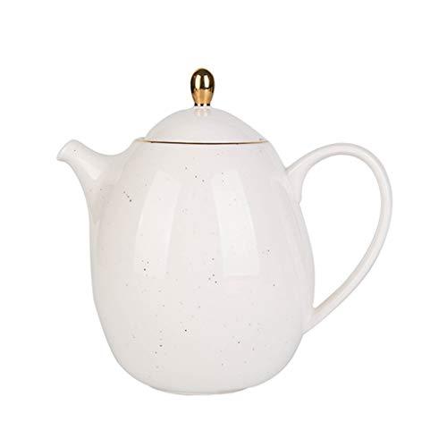 FABAX Teekanne Im europäischen Stil Phnom Penh Keramik Teekanne Haushaltsgroßraum-Filter Kettle Teekanne Kaffeekanne mit Edelstahl-Filter Teebereiter Kaffekannen (Color : White)