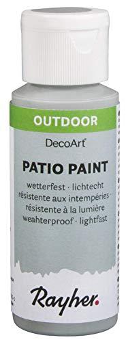 Rayher 38610560 Patio Paint, hellgrau, Flasche 59 ml, wetterfeste Acrylfarbe für Den Außenbereich, lichtecht, Farbe für Innen und außen, Outdoor-Farbe