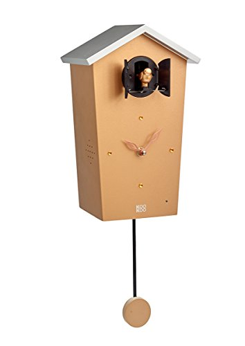 KOOKOO Birdhouse Copper, Modern Cuckoo Clock w. 12 Natural Bird Voices or Cuckoo Call, Design Clock w. Pendulum, Natural Field Recordings by Jean-Claude Roché
