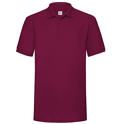 Camiseta tipo polo de manga corta para hombre Fruit of the Loom Rojo granate Small
