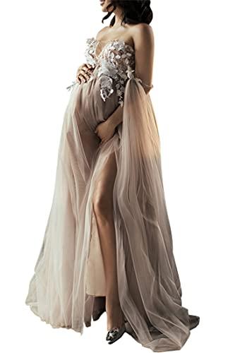 Vestido de maternidad elegante con hombros descubiertos, manga acampanada, ajuste delgado, maxi vestido de fotografía para sesión de fotos