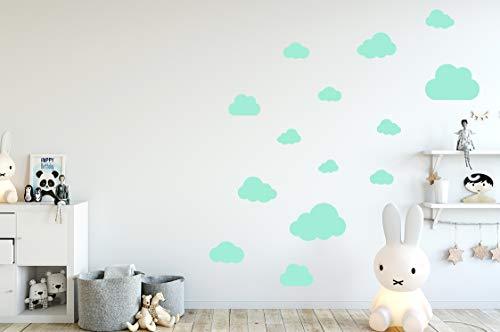MacDecal.de Wolken Set 16x Wolke Wandtattoo Wandaufkleber Sticker Aufkleber Wand Himmel Baby (Wolkenset 16 Teilig, Mint)