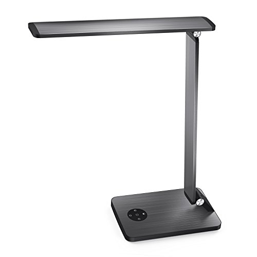 LED Desk Lamp, MoKo Smart Touch Stylish Metal Table Lamp, Rotatable Home Office Lamp with Stepless Brightness/Color Temperature, 5V 2.4A USB Charging Port, Memory Function, Sleep Mode - Space Gray
