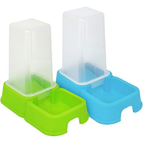 com-four® 2X Spender für Futter und Wasser für Haustiere 1,5 Liter, automatischer Futternapf Hunde und Katzen, 26,2 x 24 x 15,4 cm (02 Stück - Futterspender bunt)