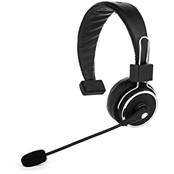 Blue Tiger Elite Premium Wireless Bluetooth Headset - Professional Truckers  Noise Cancellation Head Set with Microphone - Clear Sound Long Battery Life No Wires - 34 Hour Talk Time - Black