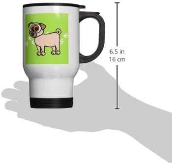 3drose Tan Pug And Paw Prints Travel Mug 14 Ounce Kitchen Dining