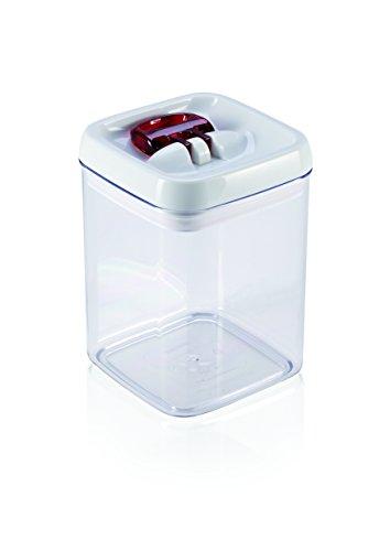 Leifheit Fresh and Easy Vorratsbehälter 1, 6L, eckig, luft- und wasserdichte Vorratsdose mit patentierter Einhand-Bedienung, Frischhaltedose, stapelbare Aufbewahrungsboxen, transparent, rot