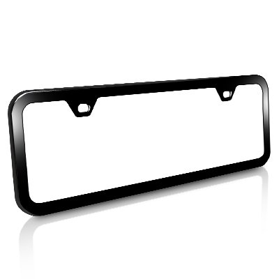 Slim Half-size Black Steel License Plate Frame