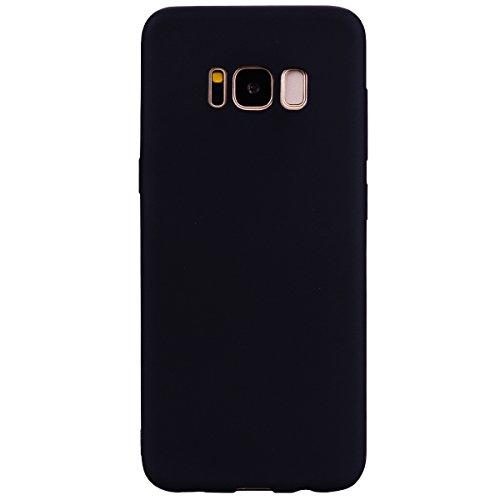 cuzz Funda para Samsung Galaxy S8 Plus+{Protector de Pantalla de Vidrio Templado} Carcasa Silicona Suave Gel Rasguño y Resistente Teléfono Móvil Cover-Negro