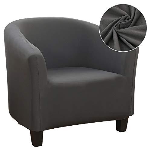 ChicSoleil Sesselschoner Sesselüberwurf Sesselhusse Sesselbezug Jacquard Elastisch Stretch Sofahusse Husse für Clubsessel Loungesessel Cocktailsessel (Grau, Milchseide)