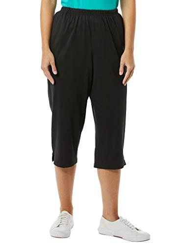 AmeriMark Women's Knit Capris – 100% Cotton Pants with Stretch Elastic Waist Black XL
