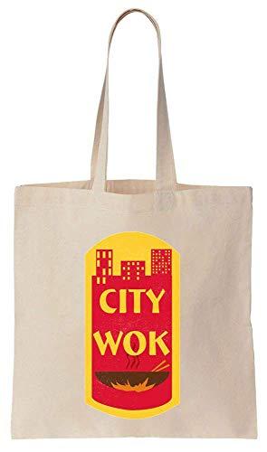 Finest Prints City Wok Historic CtPaTown Cotton Canvas Tote Bag