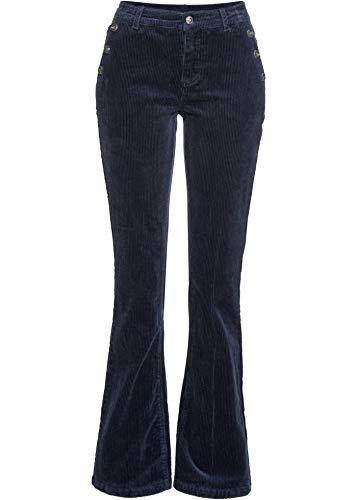 bonprix Schicke Bootcut-Stretch-Cordhose mit dekorativen Knöpfen dunkelblau lang 40 für Damen