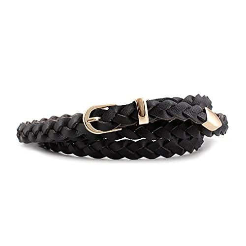 CVBF de las mujeres del vestido del cuero fino cinturón trenzado Cinturón de Oro Hebilla 1,2cm Anchura causal pretina del diseñador, Negro, 110cm