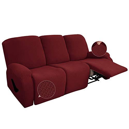 SLOUD 8 Piezas Estiramiento reclinable Fundas, Cubierta de la Silla reclinable, reclinable Cubierta Muebles Protector elástico Inferior, reclinable Funda con Bolsillo Lateral-Vino Rojo