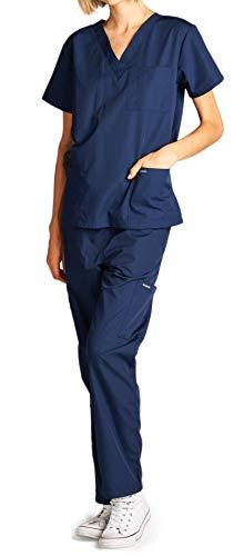 Dagacci Medical Uniform Woman and Man Scrub Set Unisex Medical Scrub Top and Pant, Navy, L