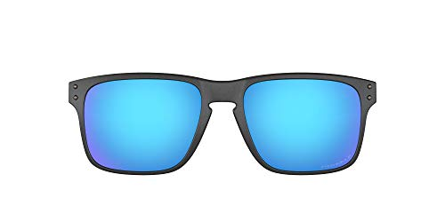 Oakley Men's OO9384 Holbrook Mix Rectangular Sunglasses, Steel/Prizm Sapphire Polarized, 57 mm