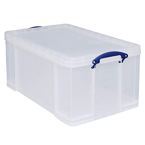 Really Useful Box 2 Stück 64 Liter - für Ordnen und Aufbewahren - 710 x 440 x 310 mm - transparent