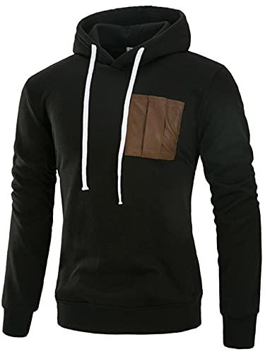 Sudaderas para hombre con capucha de cuero de la PU de manga larga suéter con cordón Cardigan sudadera con capucha chaqueta de jersey negro L