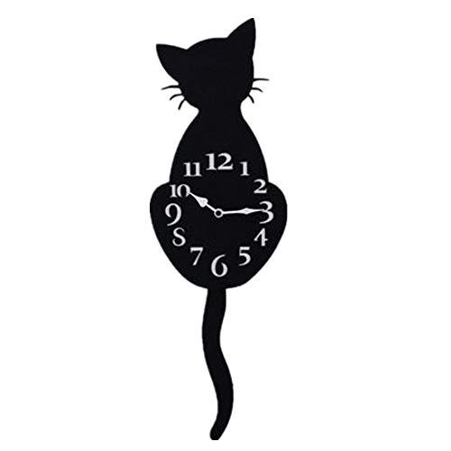DEEWISH Kreative Cartoon Nette Katze Wanduhr Weihnachten Home Decor Uhr Weg Schwanz Bewegen Schweigen Schaukel Schwanz Pendel für Wohnzimmer Schlafzimmer küche (30 * 20 * 5cm, Schwarz)