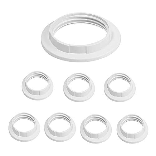 8 pieza Convertidor de anillo de pantalla de lámpara de plástico/Adaptador de reductor de anillo de pantalla Arandela (blanco)