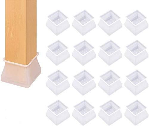 Chair leg floor protectors round caps,Furniture silicon protection cover chair leg caps square,Silicon Furniture Leg Protection Cover Table Feet Pad Floor Protector(16 pcs) (Transparentes Quadrat)