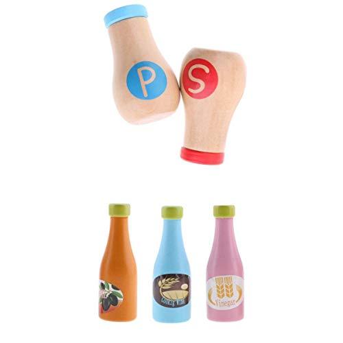 MagiDeal 5pcs Kinder Küchenspielzeug aus Holz, Salz- und Pfefferstreuer Gewürzflaschen Rollenspielzeug Set