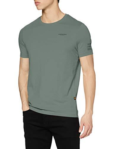G-STAR RAW Mens Text Graphic Slim T-Shirt, Teal Grey 336-B960, M